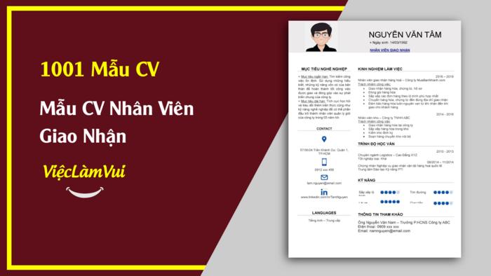 Mẫu CV Nhân viên giao nhận thuộc 1001 mẫu cv vieclamvui
