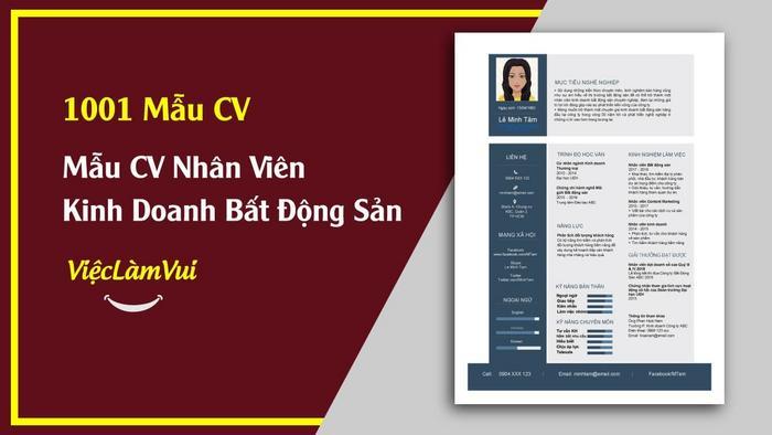 Mẫu CV Nhân Viên Kinh Doanh Bất Động Sản - 1001 mẫu cv vieclamvui