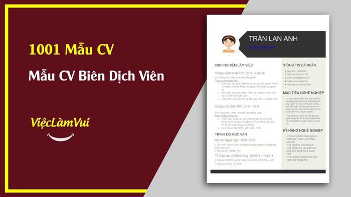 Mẫu CV Biên dịch viên - 1001 mẫu CV ViecLamVui