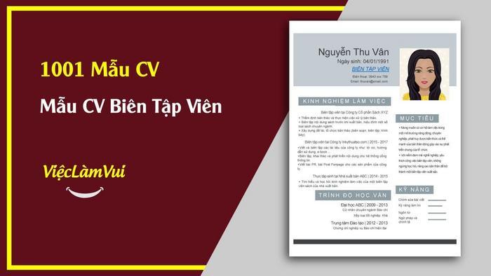 Mẫu CV Biên tập viên - 1001 mẫu CV ViecLamVui