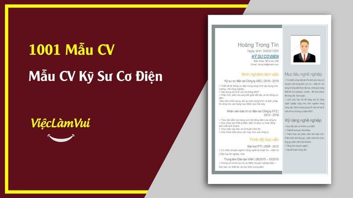 Mẫu CV Kỹ sư cơ điện - 1001 mẫu CV ViecLamVui