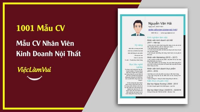 Mẫu CV Nhân viên kinh doanh nội thất - 1001 mẫu CV ViecLamVui