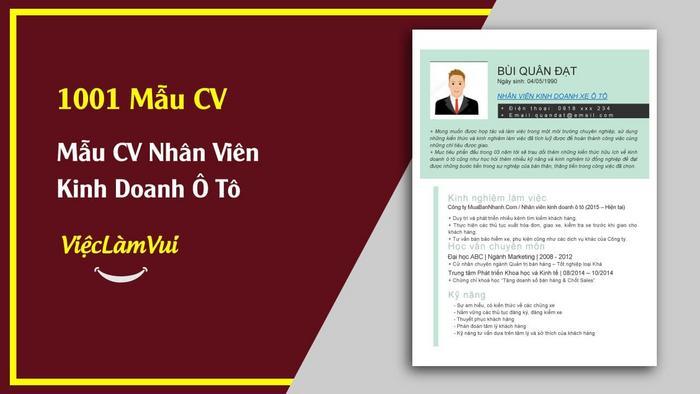 Mẫu CV nhân viên kinh doanh xe ô tô - 1001 mẫu CV ViecLamVui