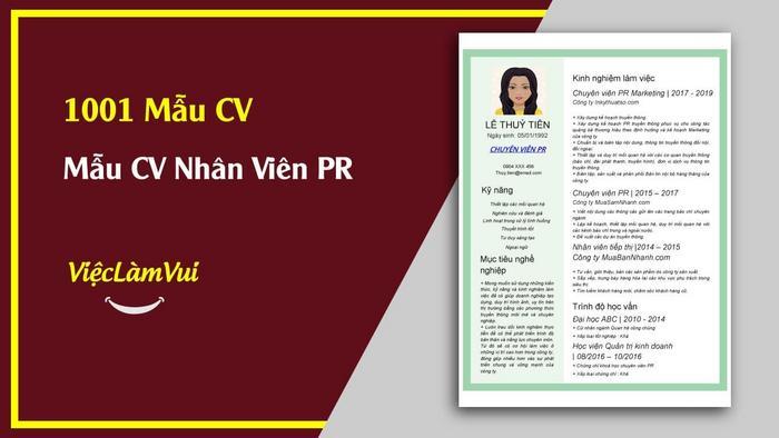 Mẫu CV Nhân viên PR - 1001 mẫu CV ViecLamVui