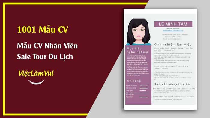 Mẫu CV nhân viên sale tour - 1001 mẫu CV ViecLamVui