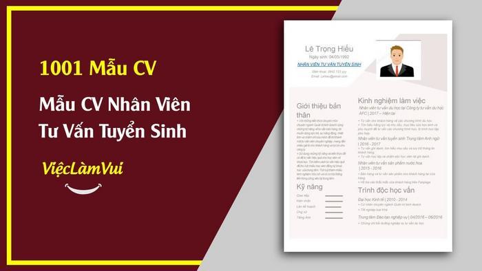 Mẫu CV Nhân viên tư vấn tuyển sinh - 1001 mẫu cv ViecLamVui