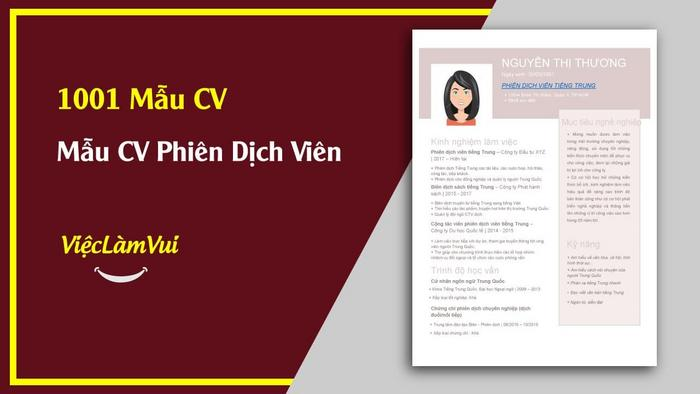 Mẫu CV Phiên dịch viên - 1001 mẫu CV ViecLamVui