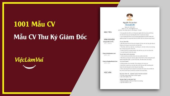 Mẫu CV Thư ký giám đốc - 1001 mẫu CV ViecLamVui
