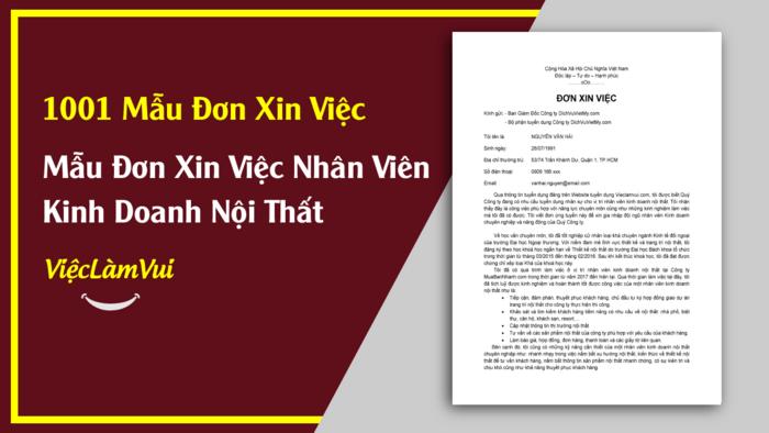 Mẫu đơn xin việc nhân viên kinh doanh nội thất - 1001 mẫu đơn xin việc ViecLamVui
