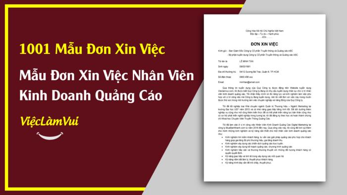 Mẫu đơn xin việc nhân viên kinh doanh quảng cáo - 1001 mẫu đơn xin việc ViecLamVui