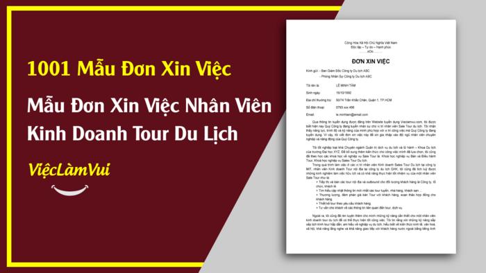 Mẫu đơn xin việc nhân viên kinh doanh tour du lịch - 1001 mẫu đơn xin việc ViecLamVui