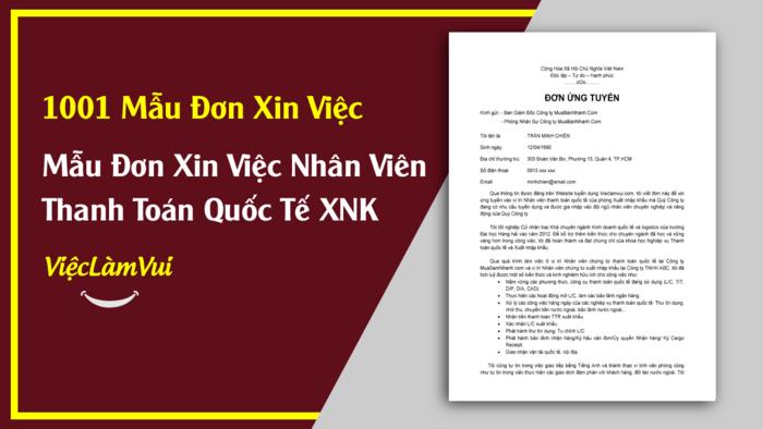 Mẫu đơn xin việc nhân viên thanh toán quốc tế - 1001 mẫu đơn xin việc ViecLamVui