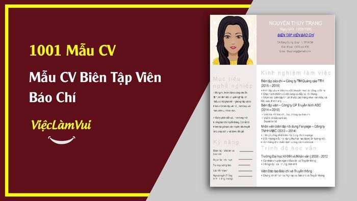 Mẫu CV biên tập viên báo chí - 1001 mẫu CV ViecLamVui