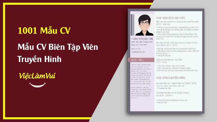 Mẫu CV Biên tập viên truyền hình - 1001 mẫu CV ViecLamVui