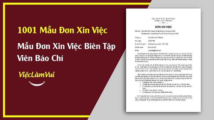 Mẫu đơn xin việc biên tập viên báo chí - 1001 Mẫu đơn xin việc ViecLamVui