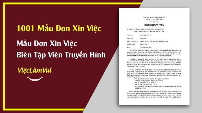 Mẫu đơn xin việc biên tập viên truyền hình - 1001 mẫu đơn xin việc ViecLamVui