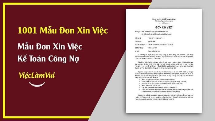 Mẫu đơn xin việc kế toán công nợ - 1001 mẫu đơn xin việc ViecLamVui