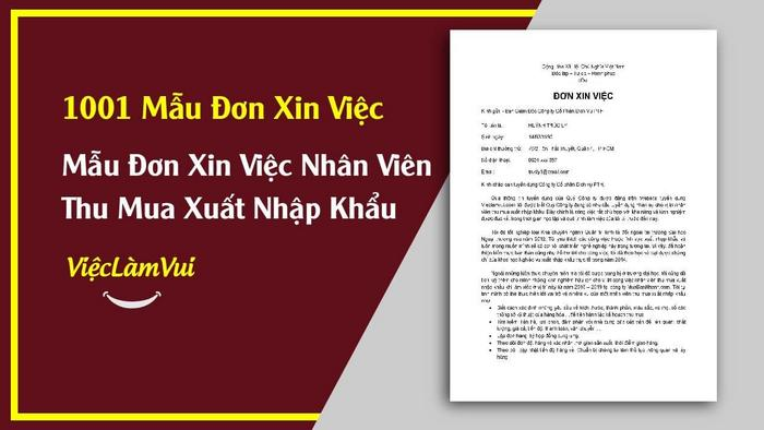 Mẫu đơn xin việc nhân viên thu mua XNK - 1001 mẫu đơn xin việc ViecLamVui