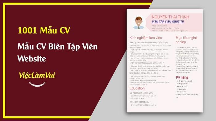 Mẫu CV Biên tập viên Website - 1001 mẫu CV ViecLamVui