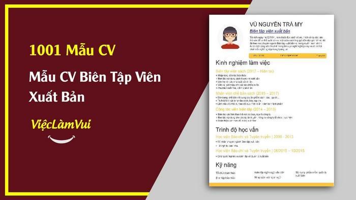 Mẫu CV Biên tập viên xuất bản - 1001 Mẫu CV ViecLamVui