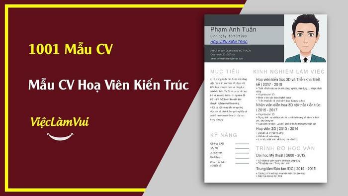 Mẫu CV hoạ viên kiến trúc - 1001 Mẫu CV ViecLamVui