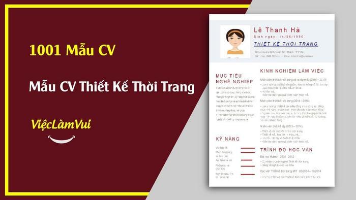 Mẫu CV Thiết kế thời trang - 1001 Mẫu CV ViecLamVui