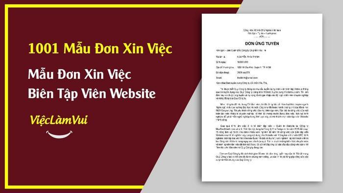 Mẫu đơn xin việc biên tập viên Website - 1001 mẫu đơn xin việc ViecLamVui
