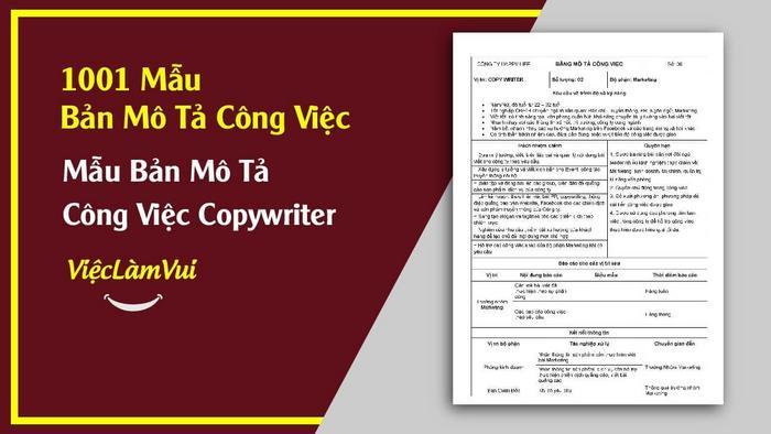 Mẫu bản mô tả công việc CopyWriter - 1001 mẫu bản mô tả công việc ViecLamVui