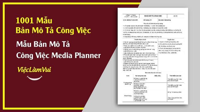 Mẫu bản mô tả công việc Media Planner - 1001 mẫu bản mô tả công việc ViecLamVui
