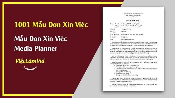 Mẫu đơn xin việc Media Planner - 1001 mẫu đơn xin việc ViecLamVui