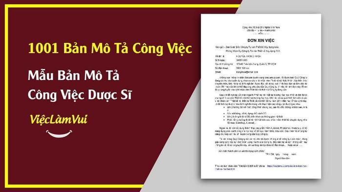 Bản mô tả công việc dược sĩ - 1001 bản mô tả công việc ViecLamVui