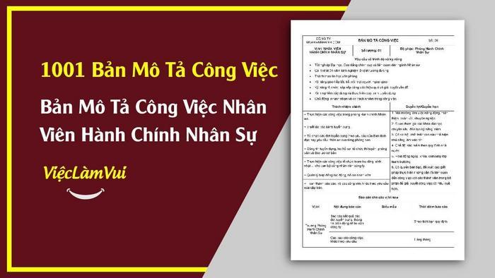 Mẫu bản mô tả công việc nhân viên HCNS - 1001 bản mô tả công việc ViecLamVui