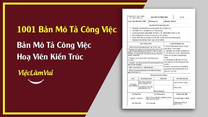Mẫ bản mô tả công việc hoạ viên kiến trúc - 1001 bản mô tả công việc ViecLamVui