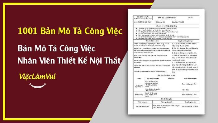 Bản mô tả công việc Thiết kế nội thất - 1001 Bản mô tả công việc ViecLamVui