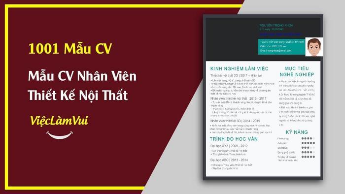 Mẫu CV nhân viên thiết kế nội thất - 1001 Mẫu CV ViecLamVui