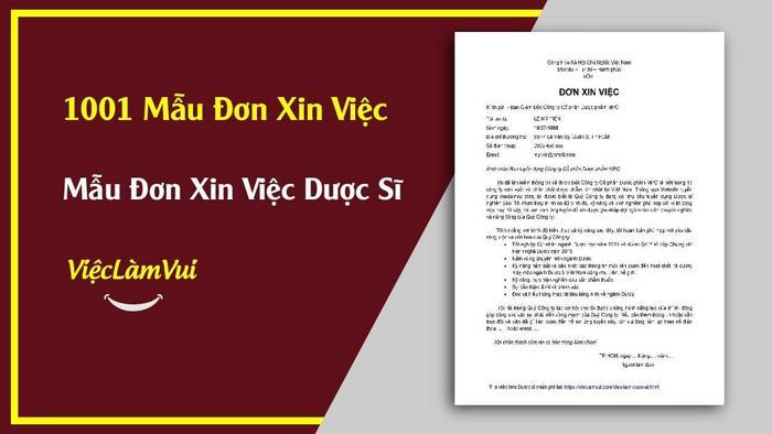 Mẫu đơn xin việc Dược sĩ - 1001 mẫu đơn xin việc ViecLamVui