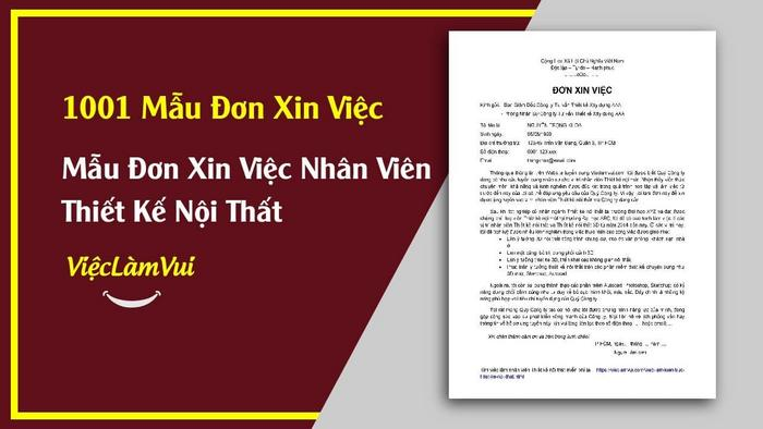 Mẫu đơn xin việc thiết kế nội thất - 1001 mẫu đơn xin việc ViecLamVui