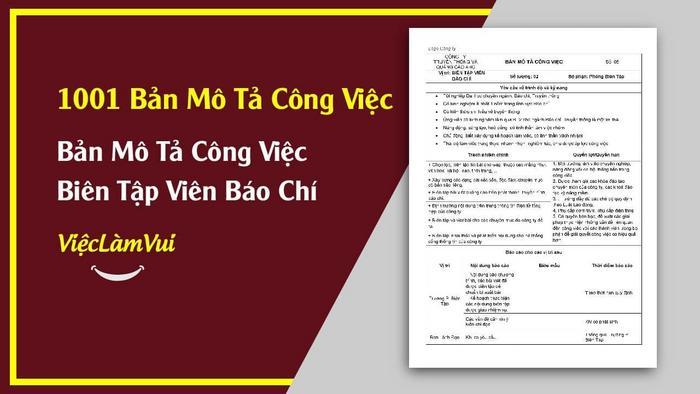 Mẫu bản mô tả công việc biên tập viên báo chí - 1001 bản mô tả công việc ViecLamVui