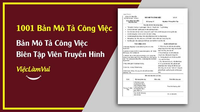 Mẫu bản mô tả công việc biên tập viên truyền hình - 1001 bản mô tả công việc ViecLamVui