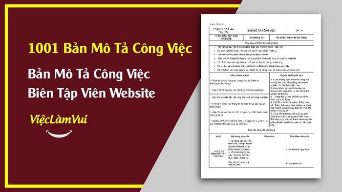 Mẫu bản mô tả công việc biên tập viên website - 1001 bản mô tả công việc ViecLamVui