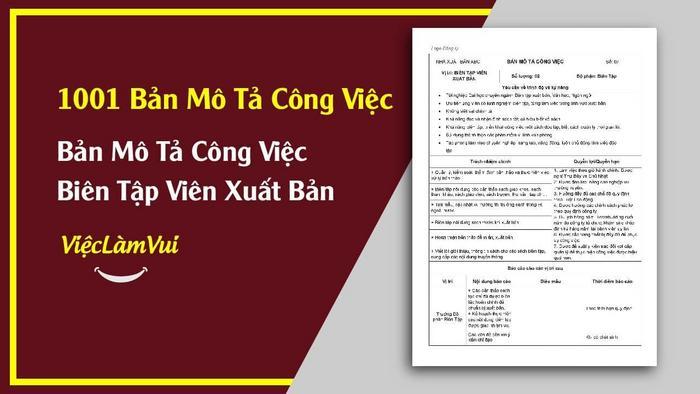 Mẫu bản mô tả công việc biên tập viên xuất bản - 1001 bản mô tả công việc ViecLamVui