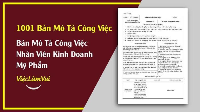 Mẫu bản mô tả công việc nhân viên kinh doanh mỹ phẩm - 1001 bản mô tả công việc ViecLamVui