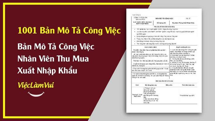 Mẫu bản mô tả công việc nhân viên thu mua XNK - 1001 bản mô tả công việc ViecLamVui