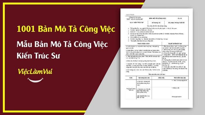 Mẫu bản mô tả công việc kiến trúc sư - 1001 bản mô tả công việc ViecLamVui