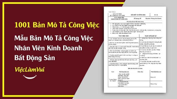 Mẫu bản mô tả công việc nhân viên kinh doanh BĐS - 1001 bản mô tả công việc ViecLamVui