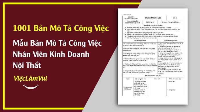 Mẫu bản mô tả công việc nhân viên kinh doanh nội thất - 1001 bản mô tả công việc ViecLamVui