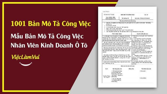 Mẫu bản mô tả công việc nhân viên kinh doanh ô tô - 1001 bản mô tả công việc ViecLamVui
