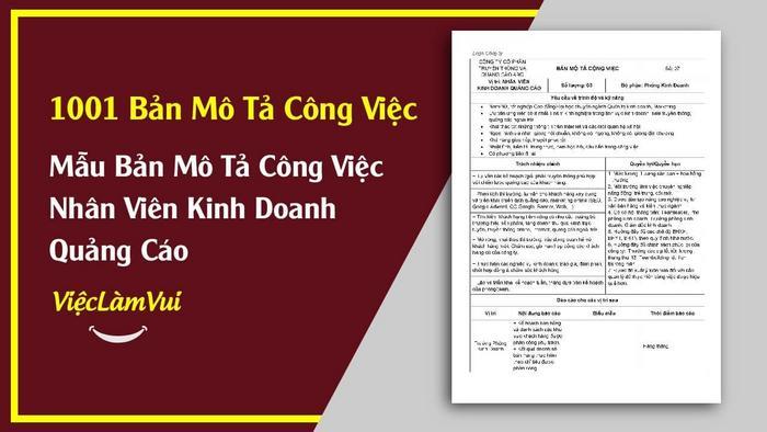 Mẫu bảng mô tả công việc nhân viên kinh doanh quảng cáo - 1001 bản mô tả công việc ViecLamVui
