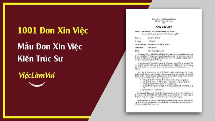 Mẫu đơn xin việc kiến trúc sư - 1001 mẫu đơn xin việc ViecLamVui