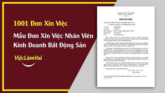 Mẫu đơn xin việc nhân viên kinh doanh BĐS - 1001 mẫu đơn xin việc ViecLamVui